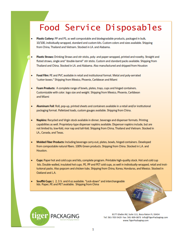 TigerOne Packaging Materials & Logistics - Marketing Materials